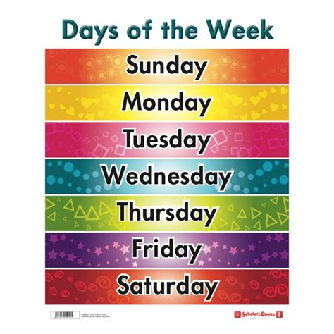 all the days of week sided days of the week chart and toys