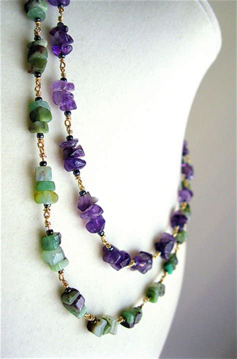 chip bead jewelry ideas chrysoprase and amethyst chip necklace flickr