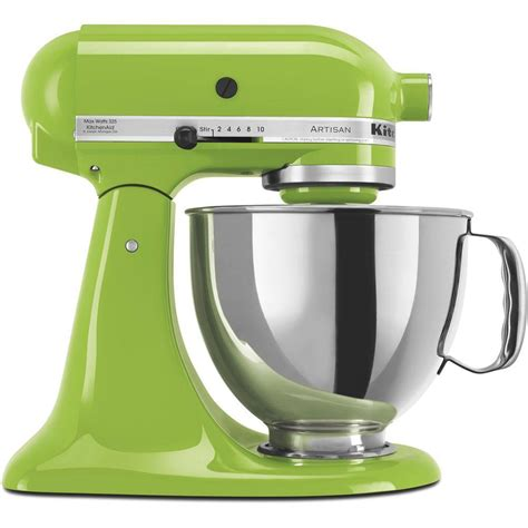 Mixer Stainless Kirin Khm 287s Kitchenaid Artisan 5 Qt Green Apple Stand Mixer Ksm150psga The Home Depot
