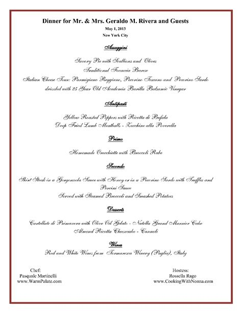 fancy dinner menu template