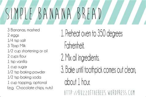 printable bread recipes easy banana bread recipe card printable buzz of the bees
