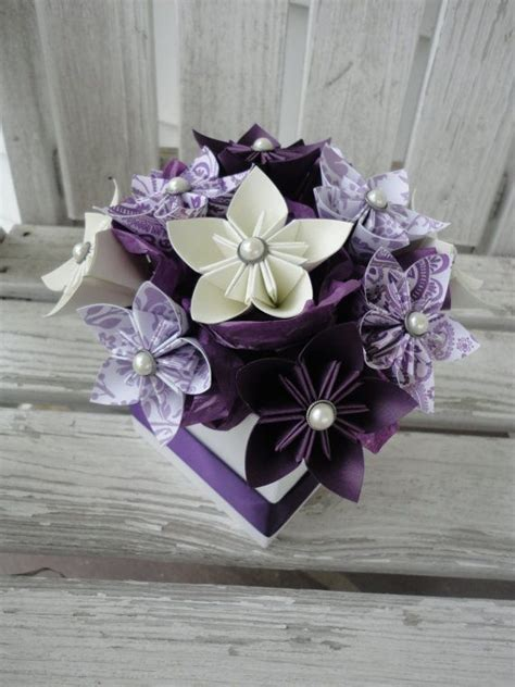 Origami Wedding Centerpieces - origami paper flower centerpiece kusudama purple