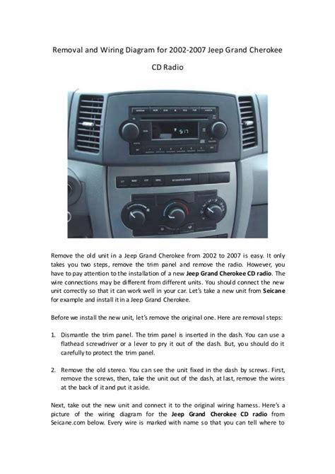removal  wiring diagram    jeep grand cherokee cd radio