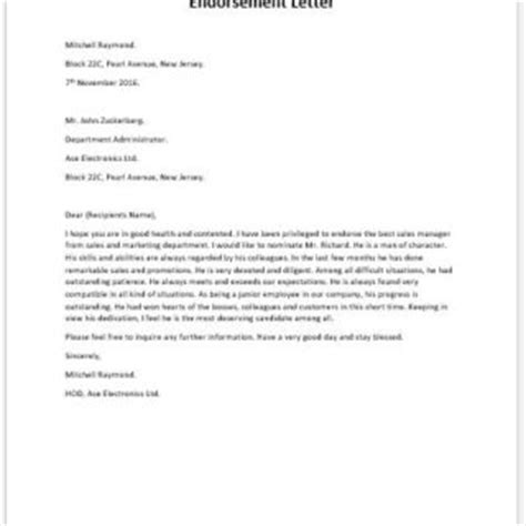 Endorsement Letter To Use Facilities Formal Official And Professional Letter Templates