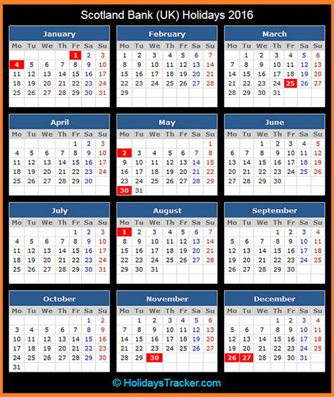 printable calendar 2016 with bank holidays scotland bank uk holidays 2016 holidays tracker