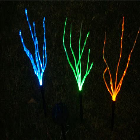 Fiber Optic Landscape Lighting 3 Colorful High Brightness Solar Led Fiber Optic Grass Path Light Outdoor Garden Lawn Landscape