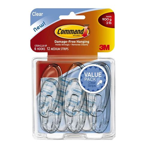 3m Command Clear Medium Hooks With Clear Strips 17091clr Murah command medium clear hooks with clear strips 6 pack