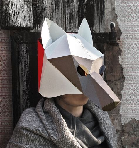 Papercraft Wolf Mask - wolf mask diy costume paper creation pdf pattern