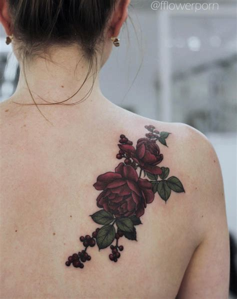 burgundy rose tattoo