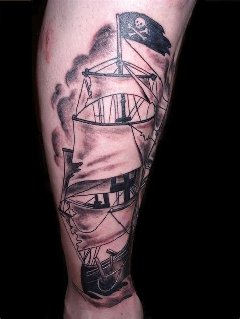 777 tattoo designs awesome grey pirate ship