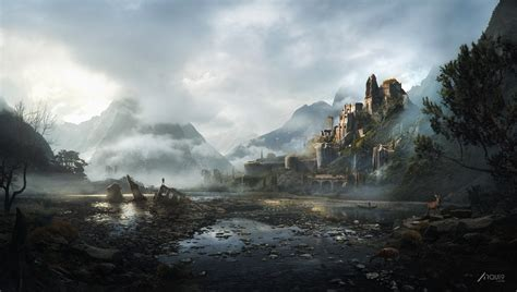 matte painting castle on the hill matte painting arqui9 visualisation