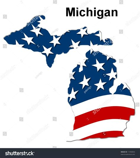 State Of Michigan Search Map Of The State Michigan American Flag Stock Photo 11950054