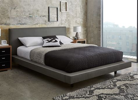bed and bed frame diaz grey faux leather bed frame dreams
