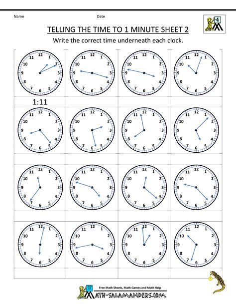 free time worksheets telling the time to 1 min 2 telling