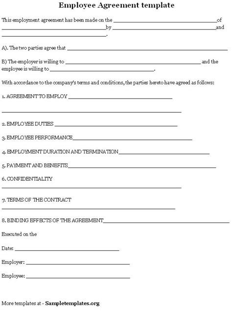 employee agreement template pin employee information form on