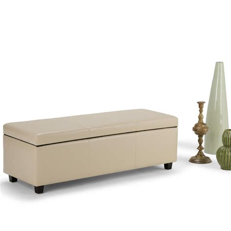 bedroom brown wooden bench with shelf and cream simpli home avalon cream storage bench axcf18 cr the