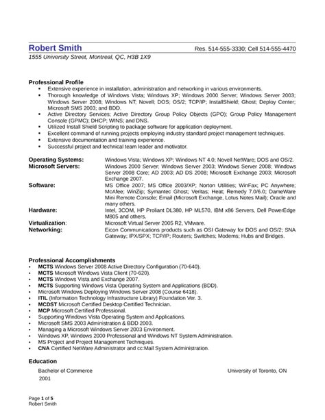 resume format for windows system administrator professional system administrator resume template