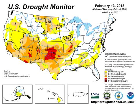 map us drought u s drought monitor update for february 13 2018