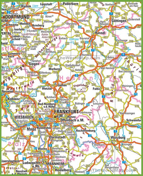 road map of germany hesse road map