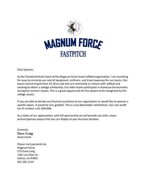 Sponsorship Letter Nike sle sponsorship letter for softball team best photos