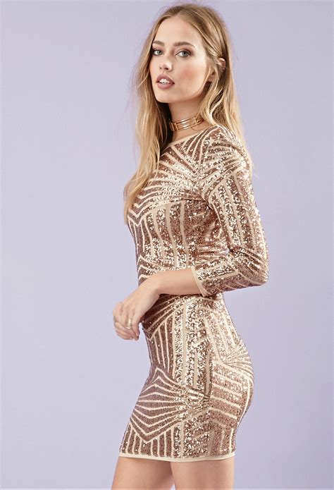sequined abstract pattern dress lyst forever 21 sequined abstract patterned dress in