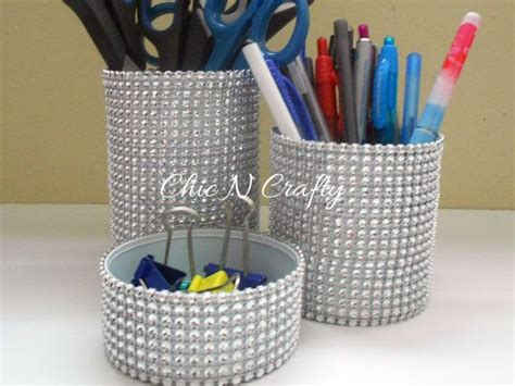 bling desk accessories 3pc bling bling tin can organizer desk set
