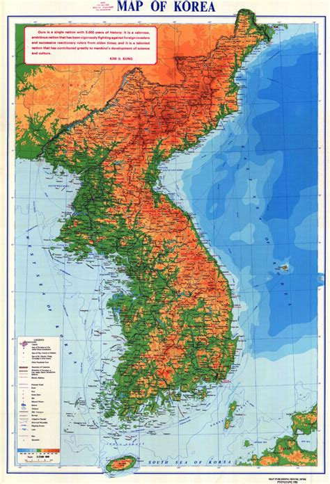 korea physical map large detailed physical map of korean peninsula korean