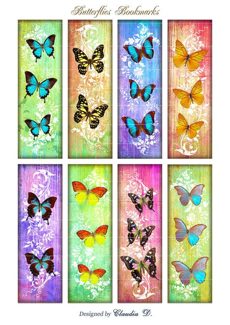 printable butterfly bookmarks butterfly bookmark printable digital collage sheet