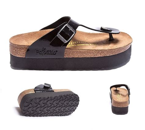 platform birkenstock sandals birkenstock womens gizeh platform sandal black patent
