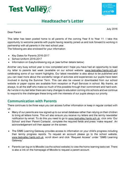 Parent Letter Before Testing Test Valley School Headteacher S Letter July 2016