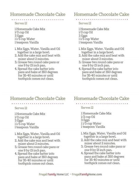 printable cake recipe how to make homemade chocolate cake mix