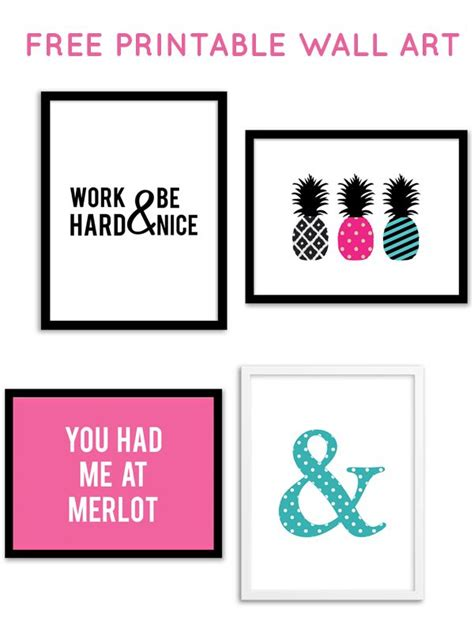 free printable wall art decor free printable wall art from chicfetti decorating ideas