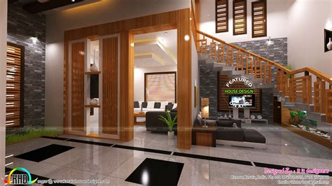 home interior design living foyer stair interiors kerala home design