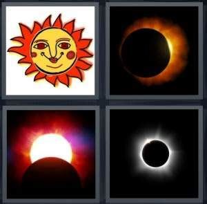 Drawing 4 Pics 1 Word by 4 Pics 1 Word Answer For Sun Eclipse Bright Moon