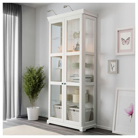 White Storage Cabinet With Glass Doors Liatorp Glass Door Cabinet White 96x214 Cm Ikea