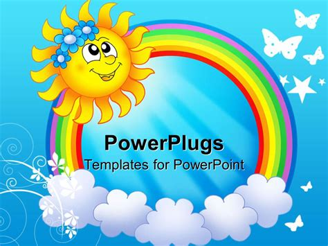 ppt themes sun powerpoint template smiling sun with rainbow circle and