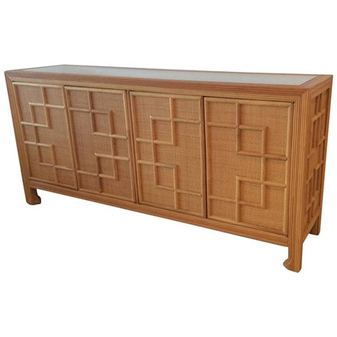 Wicker Credenza pencil reed bamboo rattan wicker credenza vintage buffet sideboard dresser at 1stdibs