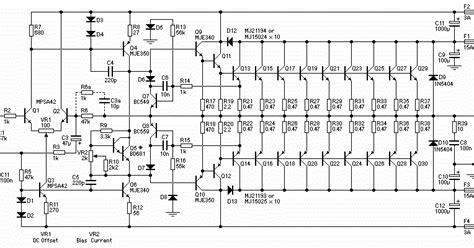 stereo power amplifier circuit gambar skema