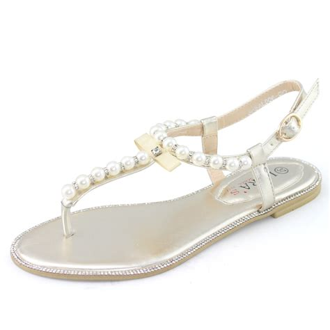 flat wedding sandals with rhinestones womens bridesmaid shoes silver bridal flat gold