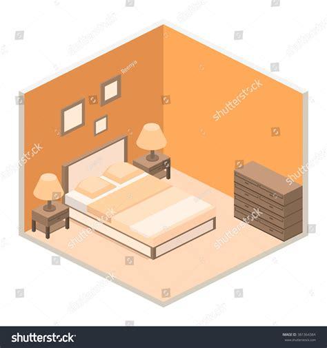 isometric view of bedroom modern bedroom design isometric style stock vector