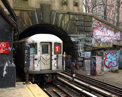 Nycs Subways Go by Dyckman Subway Station Washington Heights New Yor