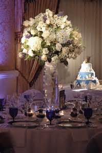 Tall Centerpieces White And Blue Tall Centerpiece Tall Centerpieces Reception My Wedding Blooms