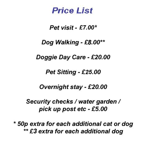 puppy price list walking price list