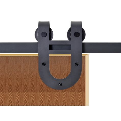 Barn Style Door Hardware Calhome 72 In Matte Black Rustic Horseshoe Barn Style Sliding Door Track And Hardware Set Sdh