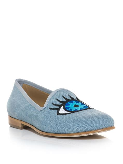 denim slippers toro eye and winking eye slipper shoes in blue denim