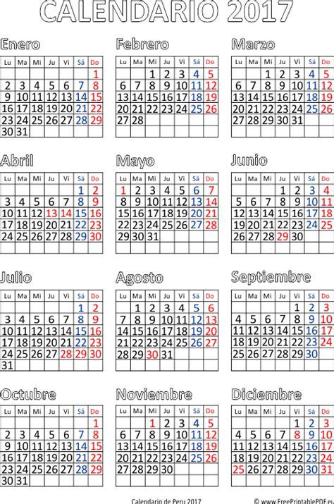 Calendario Octubre 2017 Peru Calendario De Per 250 2017 Imprimir El Pdf Gratis