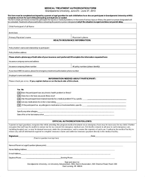 Authorization Form For Grandparents Template 10 Printable Medical Authorization Forms Pdf Doc Free Premium Templates