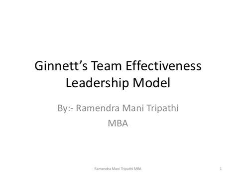 Team Leadership Mba 610 by Ginnett S Team Effectiveness Leadership Model
