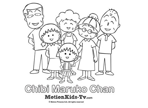 imagenes japonesas para pintar dibujito de la familia de maruko dibujos para colorear