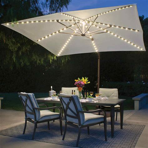 offset umbrella with lights umbrella bali pro 10 ft with starlights in sky blue dfohome